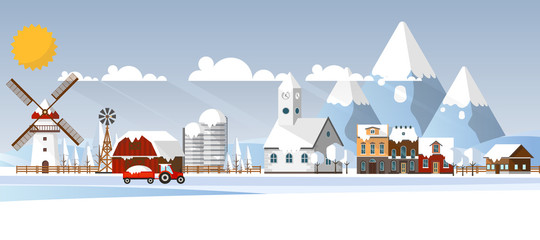 Winter Abstract Farmland Landscape in Flat Design. Vector Illustration.