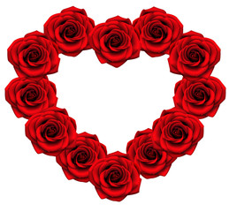 Love frame with red roses. Vector floral heart