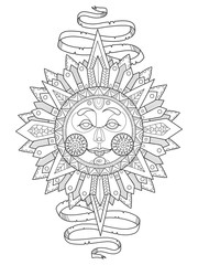 Sun with face coloring book vector illustration