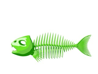 Fish skeleton. Isolated on white background. 3D rendering illust