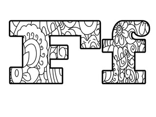Anti coloring book alphabet, the letter F vector illustration