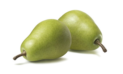 2 whole green pears horizontal isolated on white background