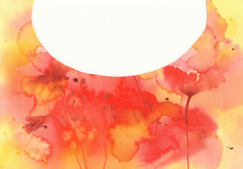 Poppies watercolor background unfinished