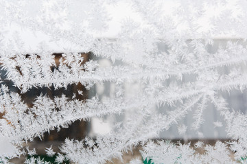 Texture of ice at a window