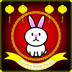 Happy new year of Rabbit year on red table background and hanging lantern