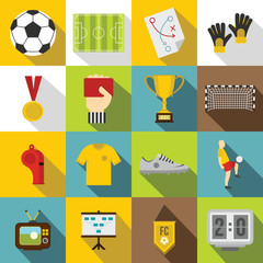 Soccer football icons set, flat style