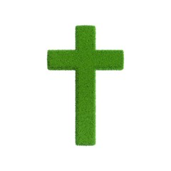 Christian Cross from grass.3D rendering illustration.