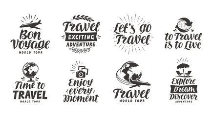 Travel, adventure set icons. Handwritten lettering. Label vector illustration