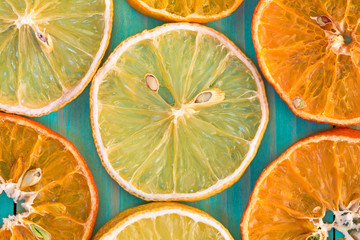 Dry orange and lemon,close-up