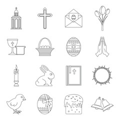 Easter items icons set, outline style