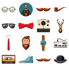 Hipster items icons set, cartoon style