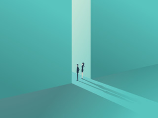 Business people standing in a gate or door as a symbol of business opportunity or career progress. Corporate metaphor for growth and success.