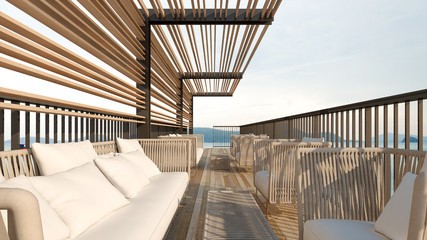 Rooftop sea view with sofa sets / 3D Rendering