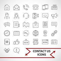 Contact us icons set isolated on white background. Line art style.