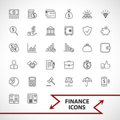Money, finance, payments icons set. Line art style,