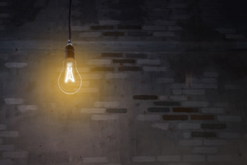 The bulb illuminated in the dark with brick background