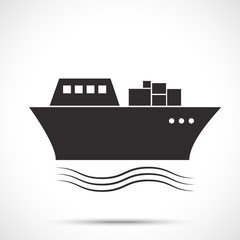 Silhouette of the sea tanker ship on the ocean waves. Sea freight transport. Shipping delivery icon.