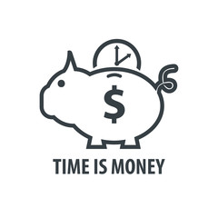 Time is Money with Piggy Bank Sketch, Time and Dollar Design.