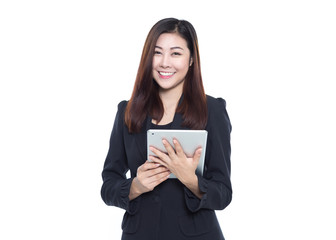 Business woman happy using digital tablet for her online business