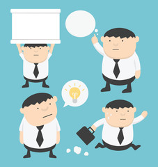 Business fat cartoon set holding signs, Think, Run,textbox