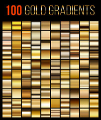 Big collection golden gradient illustration. Vector big set of gold gradients. Golden squares collection. Golden background texture.