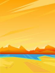 Vector summer landscape. Bright colorful background.