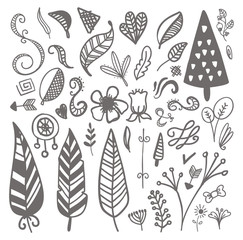 set of hand-drawn vector decorative elements Wedding, marriage,