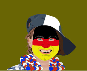 Germany football fan face. Football fans make up