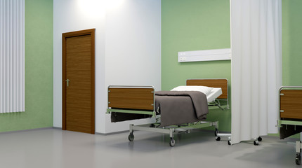 Hospital ward. Interior room in the hospital. 3D rendering
