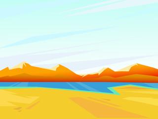 Vector summer landscape.  Beautiful bright background.