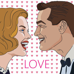 Greeting card for Valentine Day with laughing man and women. Retro Clip Art.