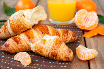 croissant and tangerines