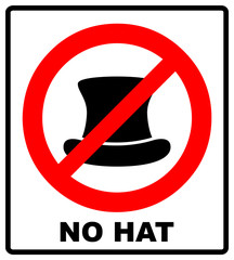 No Top hat sign. Vector illustration, text in red circle
