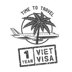 flying airplane palm tree, vector illustration logo