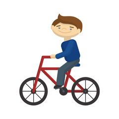 Young boy riding on a bike. Cartoon character on white background. Healthy lifestyle for children.