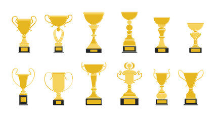Golden cups set on white background. Trophies for first place.