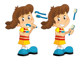 Cartoon scene with young girl brushing her teeth - illustration for children