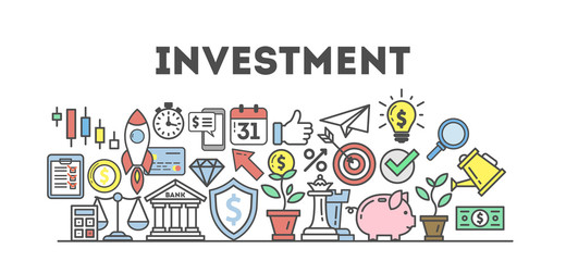 Investment icons set on white background. Colorful creative icons as piggy bank, arrows, gear, money and rocket. All icons in a heap. White background.