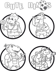 cartoon image of a little funny dinosaurs
