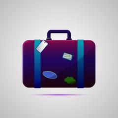 Векторная иллюстрация иконка простой символ плоский для веб suitcase дорожный чемодан багаж