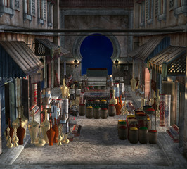 Beautiful view of a traditional bazaar by night