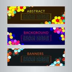 Set banners collection with abstract polygonal mosaic backgrounds. Geometric Hexagons patterns, vector illustration. Design templates for your web projects.