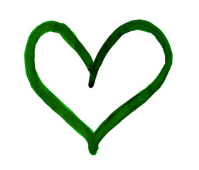 The outline of the dark green heart drawn with paint on white background