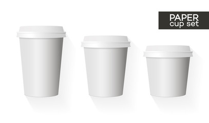 Coffee paper cup template set white color and shadow isolated on background use for your corporate identity design brand coffee shop, coffee house, restaurant, cafe and other. Vector Illustration