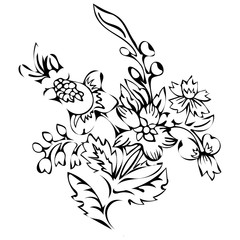 Abstract flower, fantasy blossom, coloring pictures, monochrome sketch, doodle plants, black and white vector illustration