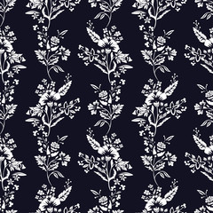Abstract flowers seamless pattern, floral monochrome vector background. Fantasy white  on a dark blue backdrop. For the design of the fabric, wallpaper, wrapper, prints, decoration