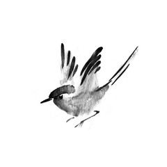 Sumi-e ink flying bird. Watercolor painting.