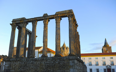 Roman temple of Diana in Evora, Alentejo, Portugal