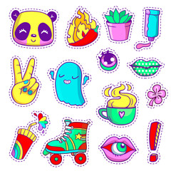 Cool neon stickers set in 80s-90s pop art comic style. Patch badges and pins with cartoon characters, food and things. Vector crazy doodles with panda, peace hand, roller skate etc.