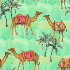 Watercolor painting Seamless pattern with camel decorated with oriental ornaments on grunge background. Vintage colorful hand drawn illustration